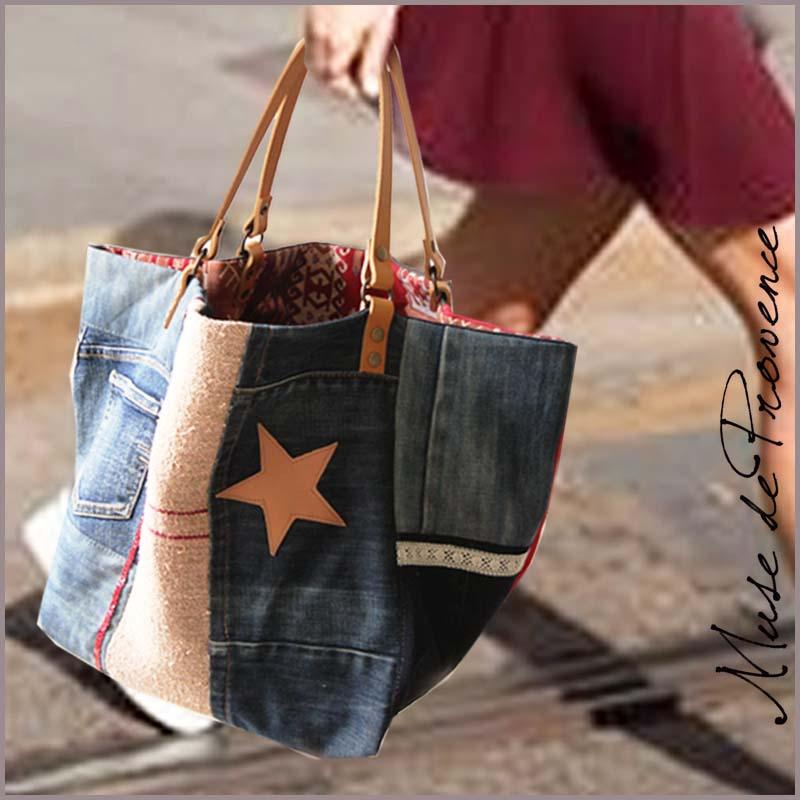 sac cabas en patchwork jeans miami muse de provence. Black Bedroom Furniture Sets. Home Design Ideas
