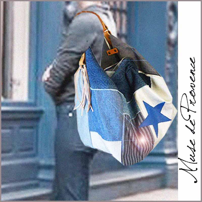 sac cabas jean cool heart bleu muse de provence. Black Bedroom Furniture Sets. Home Design Ideas