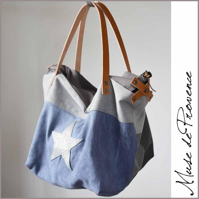 d004e9ddd2 Sac cabas bleu avec zip SECRET | Muse de Provence