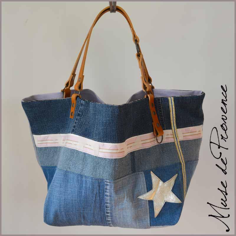 nouveau produit 4effe 72c4c Sac cabas patchwork jeans SAN FRANCISCO | Muse de Provence