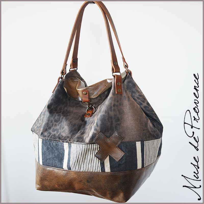 sac cabas cuir tissu loco muse de provence. Black Bedroom Furniture Sets. Home Design Ideas