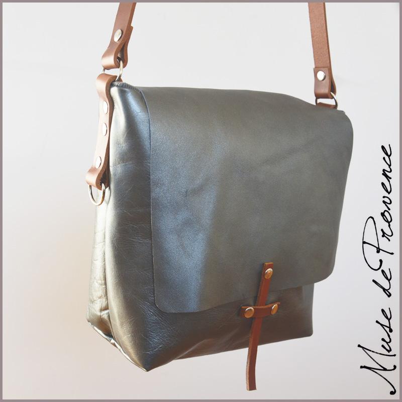 07f492602c Sac bandoulière cuir SILVER | Muse de Provence